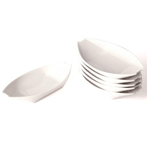 Whisper White 8-inch Sauce Dish Set (Set of 6)