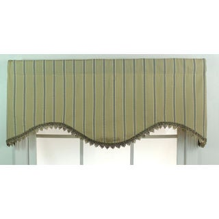Varsity Stripe Beige Scalloped Window Valance