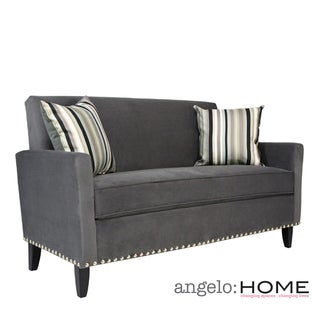 angelo:HOME Sutton Antique Silver Gray Sofa with a Mid Century Black Stripe Pillow