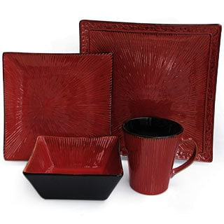Crimson Flare Red Dinnerware Set (16-piece)