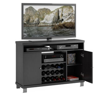 Sonax Holland 48-inch Wide Ravenwood Black TV / Component Bench with Wine Storage