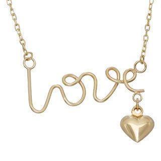 Gioelli Gioelli 14k Yellow Gold 'Love' and Puffed Heart Charm Necklace