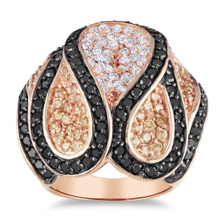 Miadora Roseplated Silver White and Black Cubic Zirconia Ring