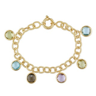 Miadora 14k Yellow Gold Multi-gemstone Link Bracelet