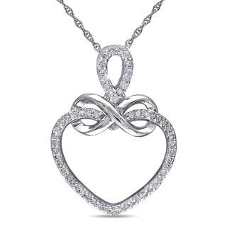 Miadora 10k White Gold 1/5ct TDW Diamond Heart Infinity Necklace (H-I, I2-I3)
