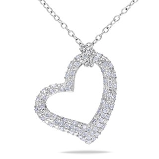 Haylee Jewels Sterling Silver 1/3ct TDW Diamond Heart Necklace (H-I, I2-I3)