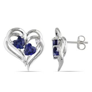 Miadora Sterling Silver Created Blue Sapphire and Diamond Heart Earrings (H-I, I2-I3)