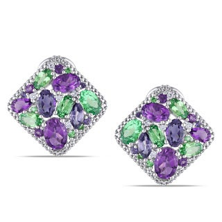 Miadora 14k White Gold Multi-gemstone and 1/10ct TDW Diamond Earrings (G-H, I1-I2)