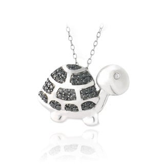 DB Designs Sterling Silver Black Diamond-accent Turtle Necklace