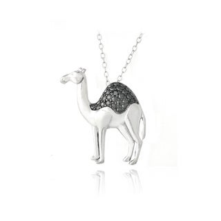 DB Designs Sterling Silver Black Diamond-accent Camel Necklace