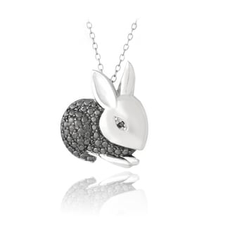 DB Designs Sterling Silver Black Diamond-accent Bunny Rabbit Necklace