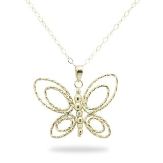 Gioelli 14k Yellow Gold Beaded Butterfly Necklace