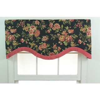 Roxana Midnight Black Floral Cornice Window Valance