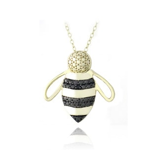 DB Designs 18k Gold over Silver Black Diamond-accent Bumble Bee Necklace