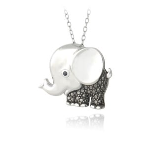 DB Designs Sterling Silver Black Diamond-accent Elephant Necklace