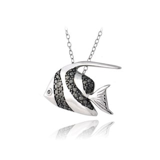 DB Designs Sterling Silver Black Diamond-accent Angelfish Necklace