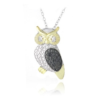 DB Designs Two-tone Silver Black Diamond-accent Owl Necklace