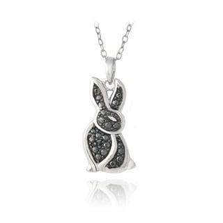 DB Designs Sterling Silver Black Diamond-accent Rabbit Silhouette Necklace