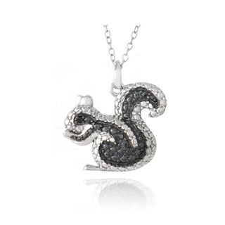 DB Designs Sterling Silver Black Diamond-accent Squirrel Necklace