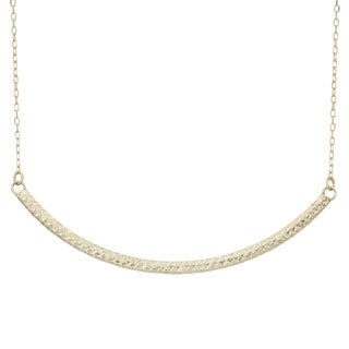 Gioelli 14k Yellow Gold Diamond-cut Curved Bar Necklace