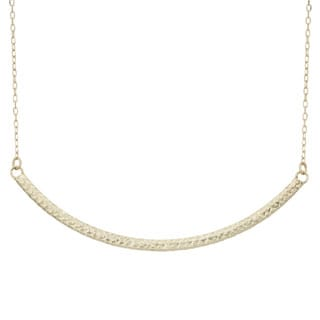 Gioelli Gioelli 14k Yellow Gold Diamond-cut Curved Bar Necklace