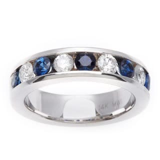 14k White Gold 3/5ct TDW Diamond and Sapphire Band Ring (G-H, SI1-SI2)
