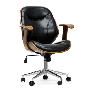 Baxton Studio Rathburn Walnut and Black Modern Office Chair