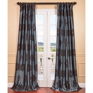 Pompeii Blue Flocked Faux Silk Curtain Panel