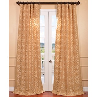 Parisian Tan Flocked Faux Silk Curtain Panel