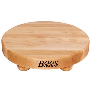 John Boos B12R 12-inch Round Maple Edge Grain Cutting board and 4 Wooden Bun Feet