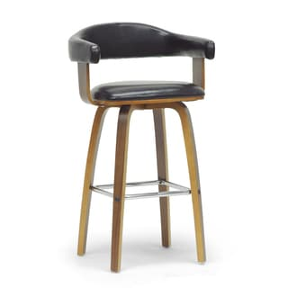 Baxton Studio Quigley Walnut and Black Modern Counter Stool
