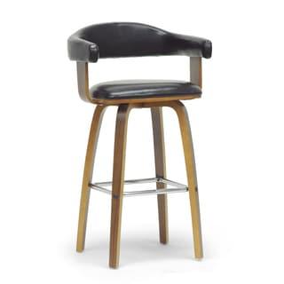 Baxton Studio Quigley Walnut and Black Modern Counter Stool