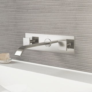 Vigo Titus Brushed Nickel Finish Dual Lever Wall Mount Faucet