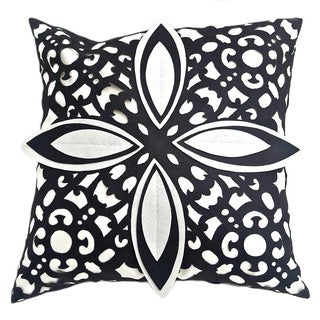 Laser Cut Black/White Decorative Feather Filled Pillow