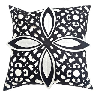 Laser Cut Black/White Decorative Down Fill Pillow