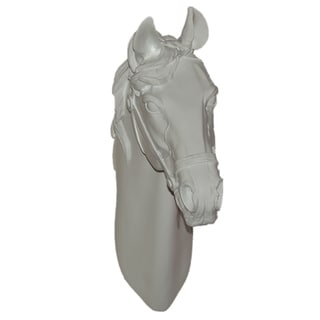 15-inch White Horse Ceramic Wall Plaque