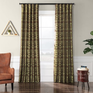 Firenze Fern Flocked Faux Silk Curtain Panel