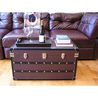 Decorative Sterling Wood Steamer Trunk Wooden Treasure Hope Chest Set (Set of 2)