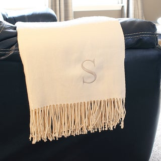 Monogrammed Cream Throw