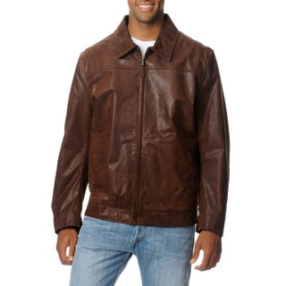 Chaps Men's Brown Rugged Leather Jacket