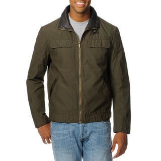 Chaps Men's Brown Leatherette Trim Zip Jacket