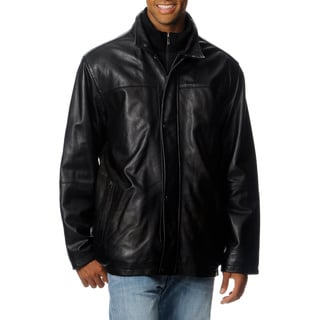 Chaps Men's Black Leather Bibbed Walker Coat