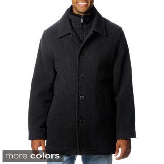 Chaps Men's Wool Blend Double Collar Coat