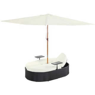 Nagoya Outdoor Patio Dual Chaise in Espresso White