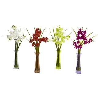 Mini Phalaenopsis and Colored Vases (Set of 4)