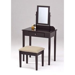 Espresso Finish Contemporary Bedroom Vanity Set and Stool