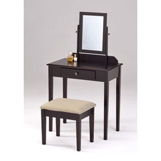 Espresso Finish Contemporary Bedroom Vanity Set and Stool