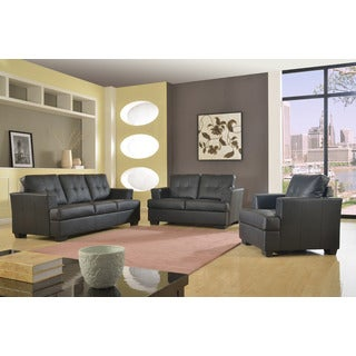 Nova 3-piece Black Bonded Leather Modern Sofa Set
