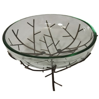 Casa Cortes Nature's Branch Glass Bowl Center Piece and Metal Stand
