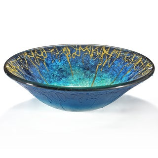 Abstract Seastorm Motif Glass Sink Bowl
